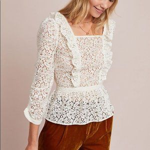 Anthropologie Meadow Rue Ivie Ruffle Lace sheer peplum creme blouse size 12